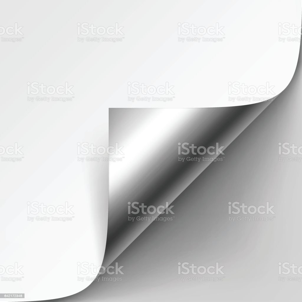 Curled Silver Metalic Corner of Paper with Shadow Mock up vector art illustration