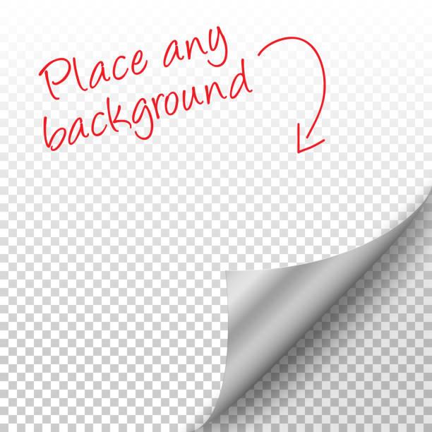 透明な背景に影とカールの銀ページ コーナー - ページ点のイラスト素材/クリップアート素材/マンガ素材/アイコン素材