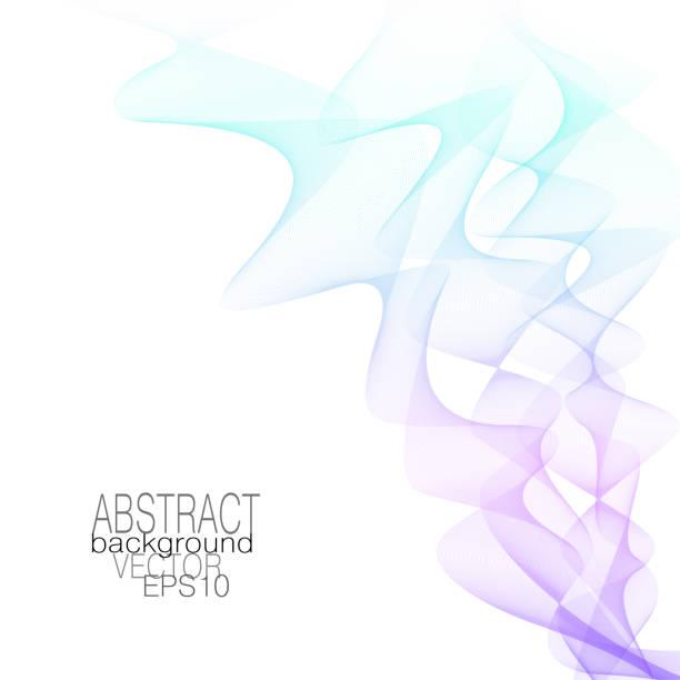 Patrón de onda humo rizado, gradiente de color púrpura, turquesa pastel. Ondas de flujos abstractas. Líneas de línea ondulada de Vector, fondo moderno. Fluido dinámica de la línea de arte. Imitación de colores de la cinta. Ilustración EPS10 - ilustración de arte vectorial