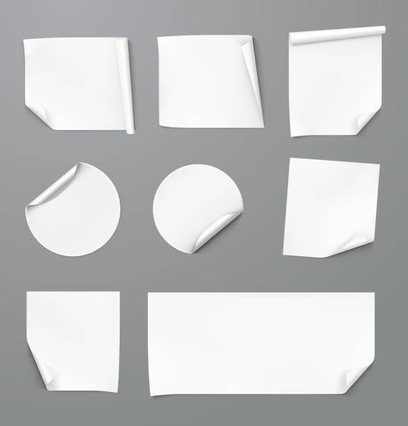 curled stickers set. vector illustration. - naklejka stock illustrations
