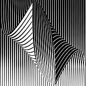 Curled, Striped Halftone Pattern with Wavy Gradient