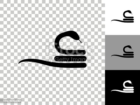 Curled Up Snake Icon on Checkerboard Transparent Background. This 100% royalty free vector illustration is featuring the icon on a checkerboard pattern transparent background. There are 3 additional color variations on the right..