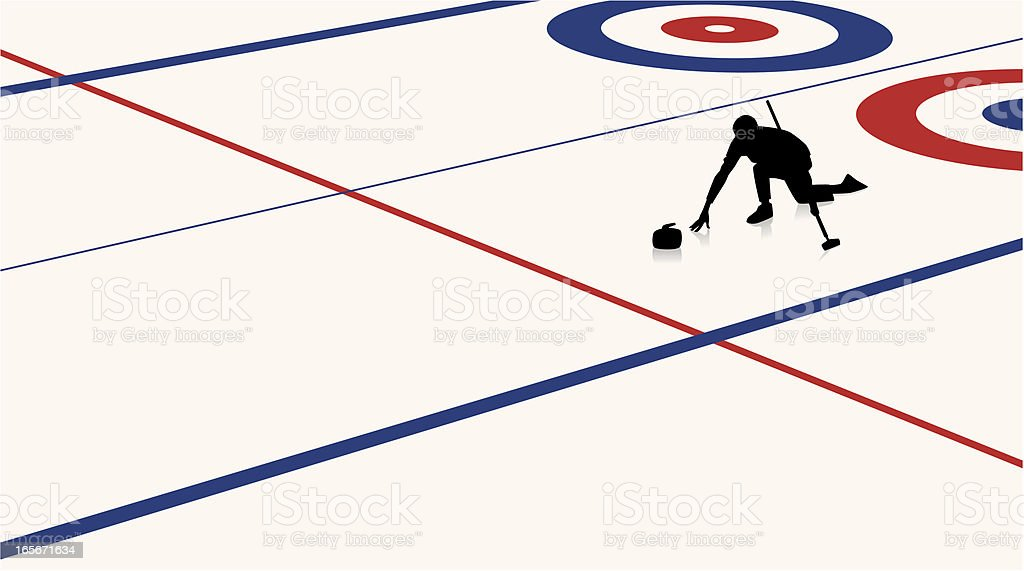 Curler in Action royalty-free stock vector art