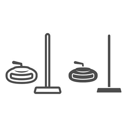 Curling equipment line and solid icon, Winter sport concept, curling stone and rectangular broom sign on white background, Broom and stone for curling icon in outline style. Vector graphics