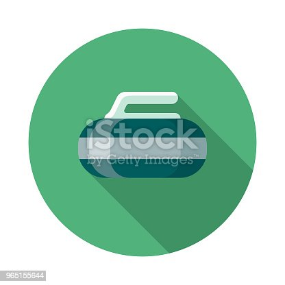 Curling Flat Design Winter Icon With Side Shadow Stock Vector Art & More Images of Blue 965155644