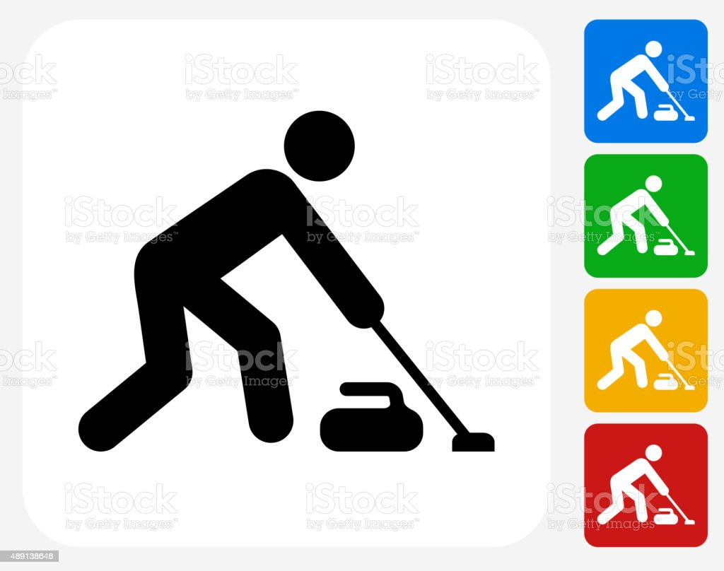 Curling Icon Flat Graphic Design vector art illustration