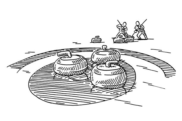 Curling Winter Sport Drawing Hand-drawn vector drawing of a Curling scene, Winter Sport. Black-and-White sketch on a transparent background (.eps-file). Included files are EPS (v10) and Hi-Res JPG. winter sport stock illustrations