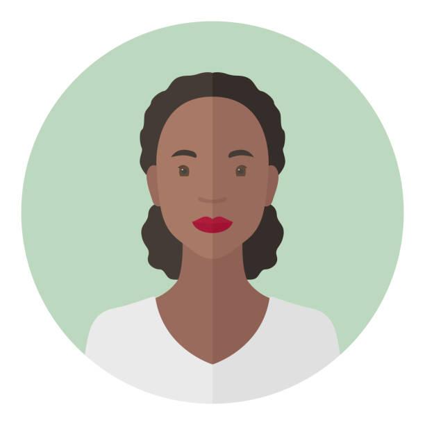 bildbanksillustrationer, clip art samt tecknat material och ikoner med curly afrikansk amerikansk kvinna. profilbild. vektor ikon - profile photo