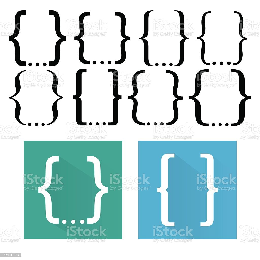 Curly bracket icon set vector art illustration