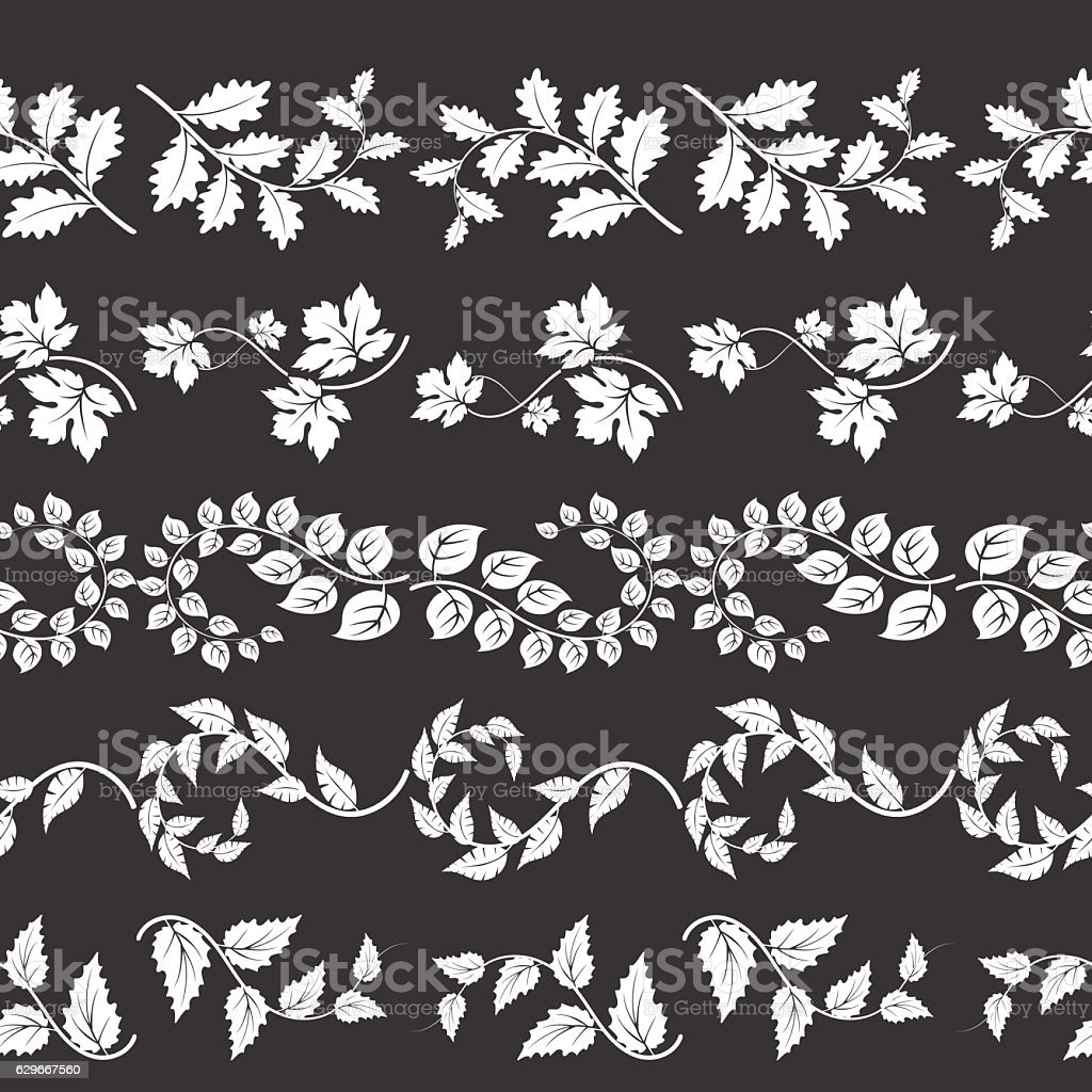 Curly branches horizontal borders vector art illustration