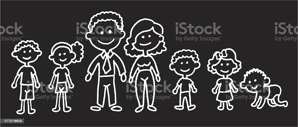 curly family vector art illustration