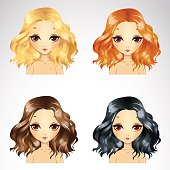 Vector illustration of beautiful short curly fluffy hairstyle set in four color