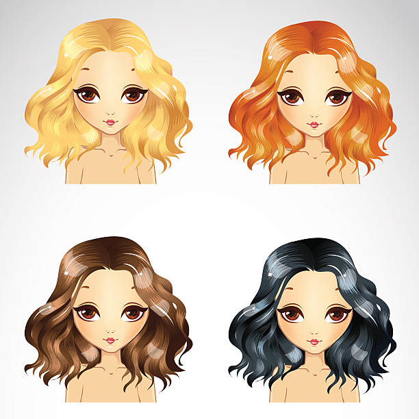stockillustraties, clipart, cartoons en iconen met curly fluffy hairstyle set - blond curly hair