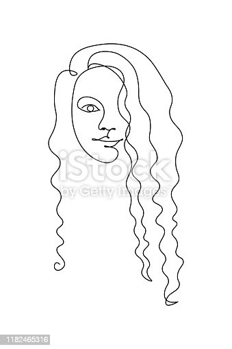 Curly girl face in continuous line drawing style. Woman portrait black line sketch on white background. Vector illustration
