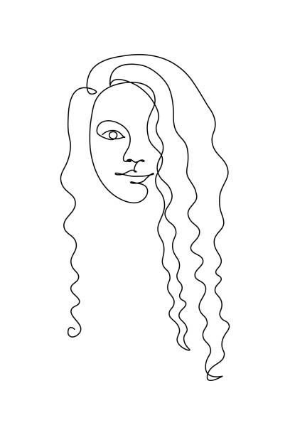 捲曲的女孩肖像 - 捲髮 幅插畫檔、美工圖案、卡通及圖標