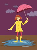 Curly Girl with Umbrella in Cloudy Garden