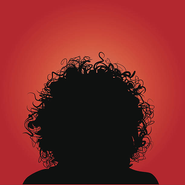Curly Hair Silhouette Woman Vector silhouette of woman curly hair. curly hair stock illustrations