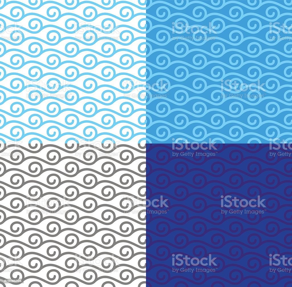 Curly linear waves seamless pattern set vector art illustration
