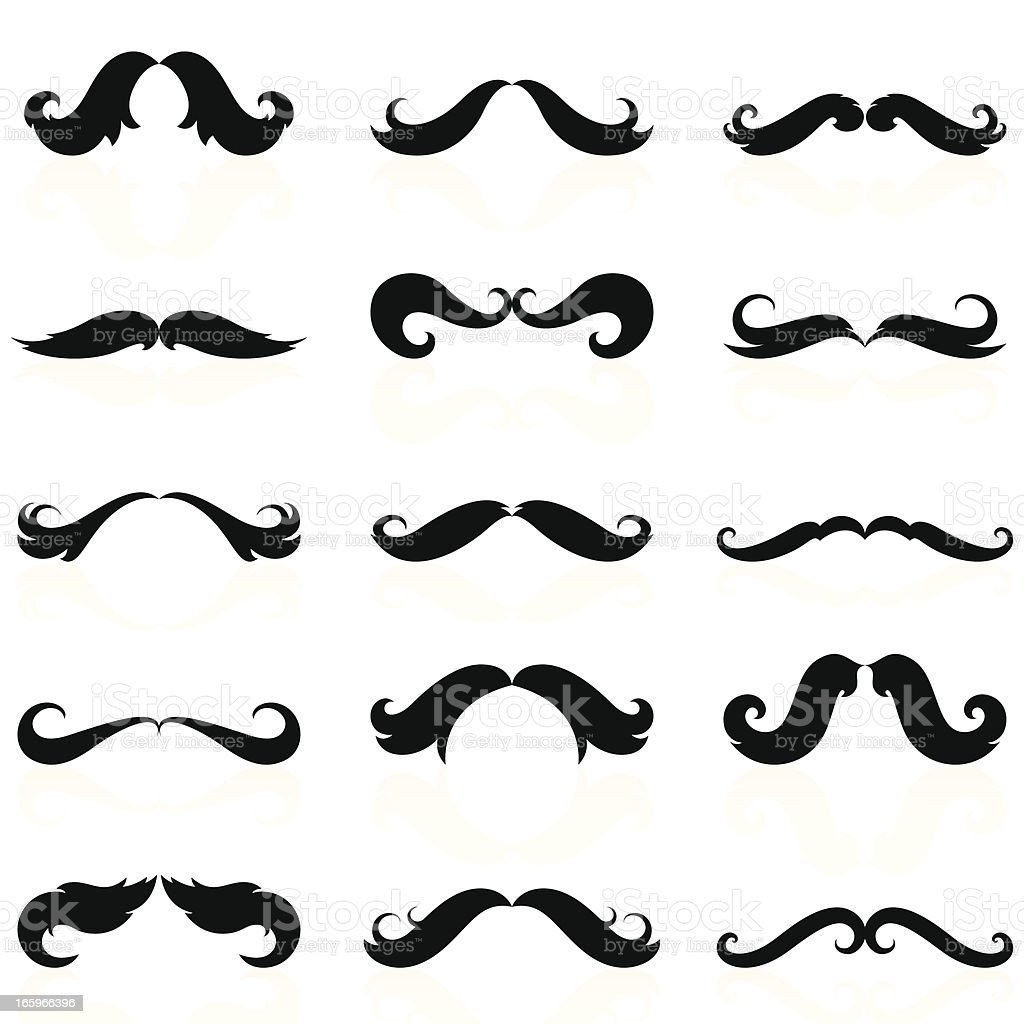 Curly Mustaches Set 05 vector art illustration