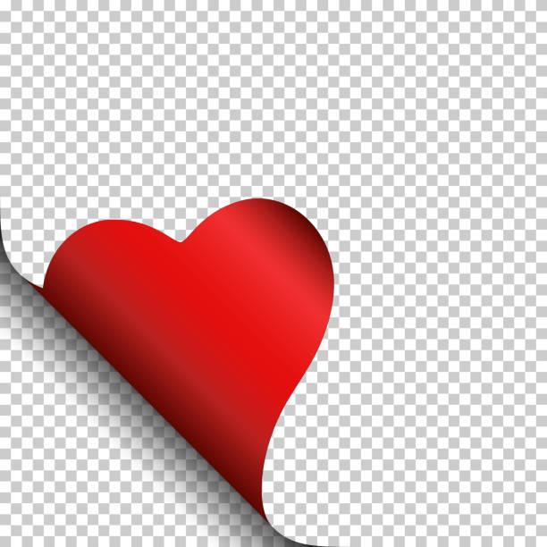 kręcone strona corner heart, izolowane. - kartka na walentynki stock illustrations