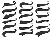 Swash and swoosh. Curly swish tails and sporty plume swirl symbol vector elements for retro banners
