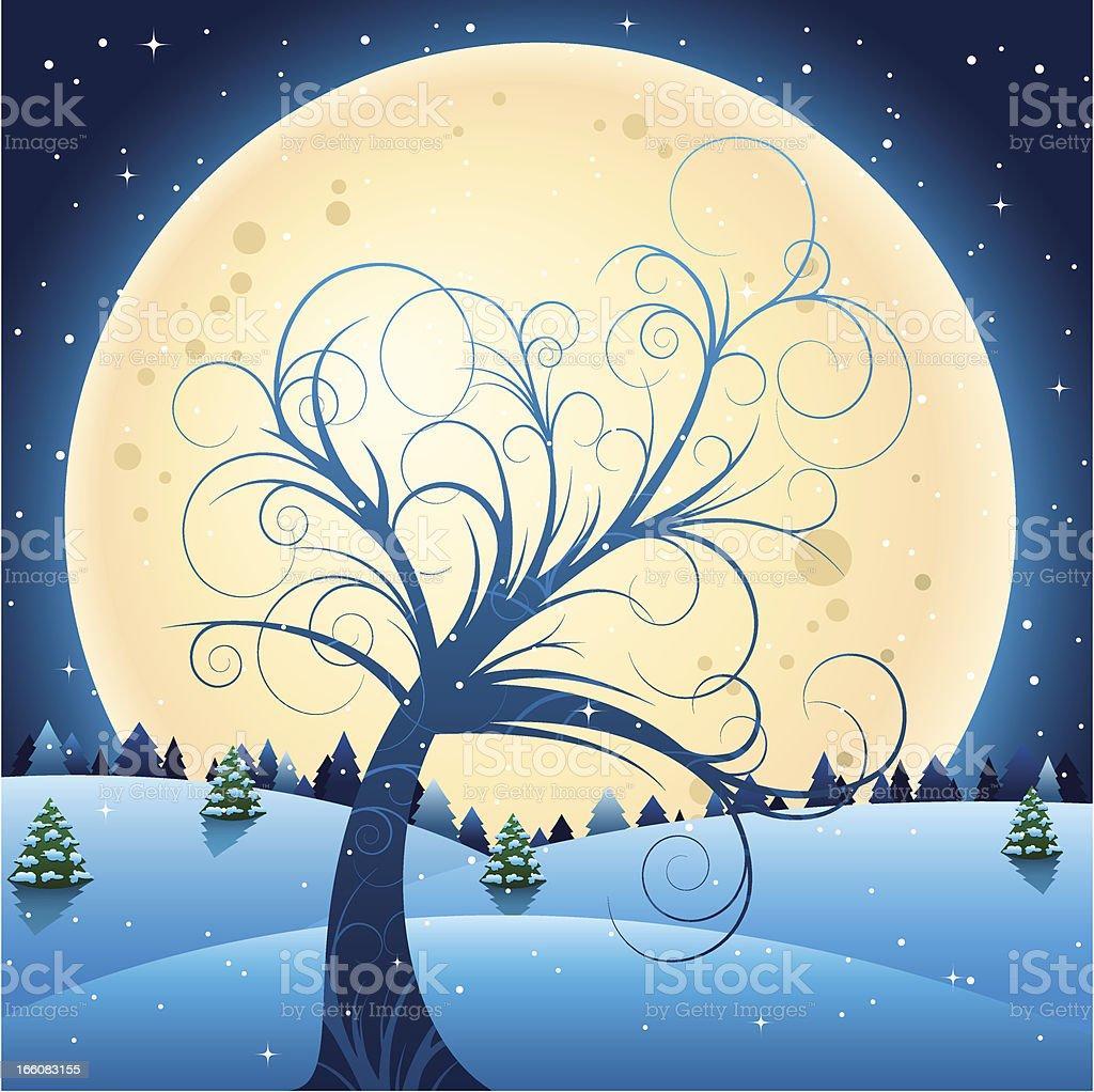 Curly tree at winter night royalty-free stock vector art