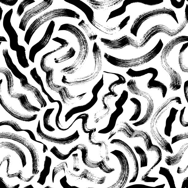 Curly waves hand drawn seamless pattern. Vector ornament for wrapping paper. Curly waves hand drawn seamless pattern. Ink brush grunge vector texture. Black wavy lines on white background. Paint brushstrokes freehand drawing. Abstract wrapping paper, textile monochrome design. squiggle stock illustrations