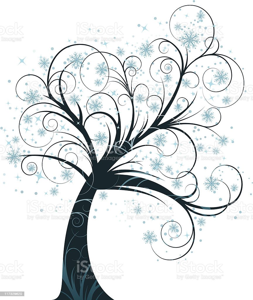 curly winter tree royalty-free stock vector art