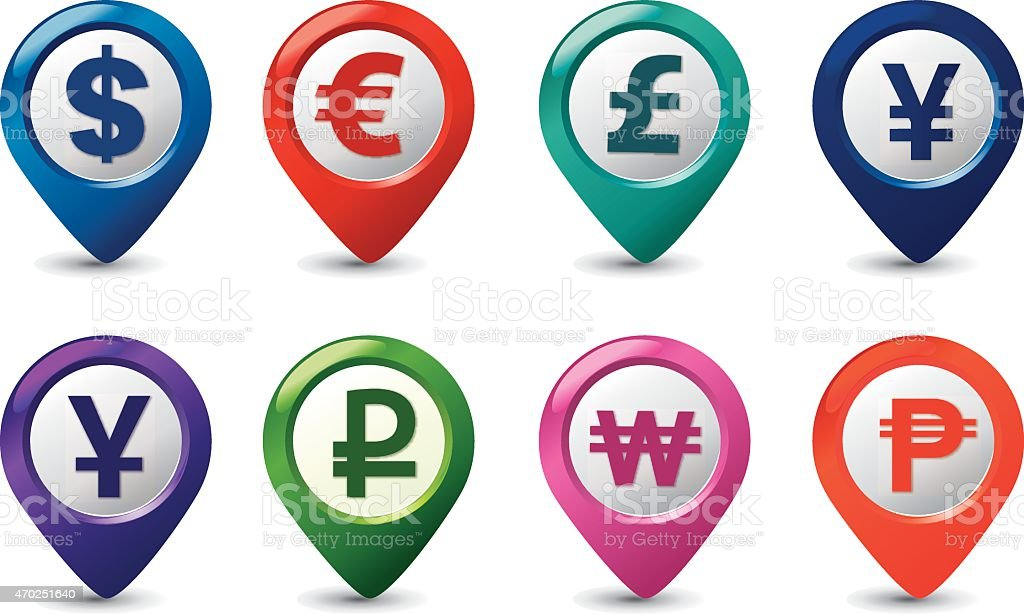 currencies pointers vector art illustration