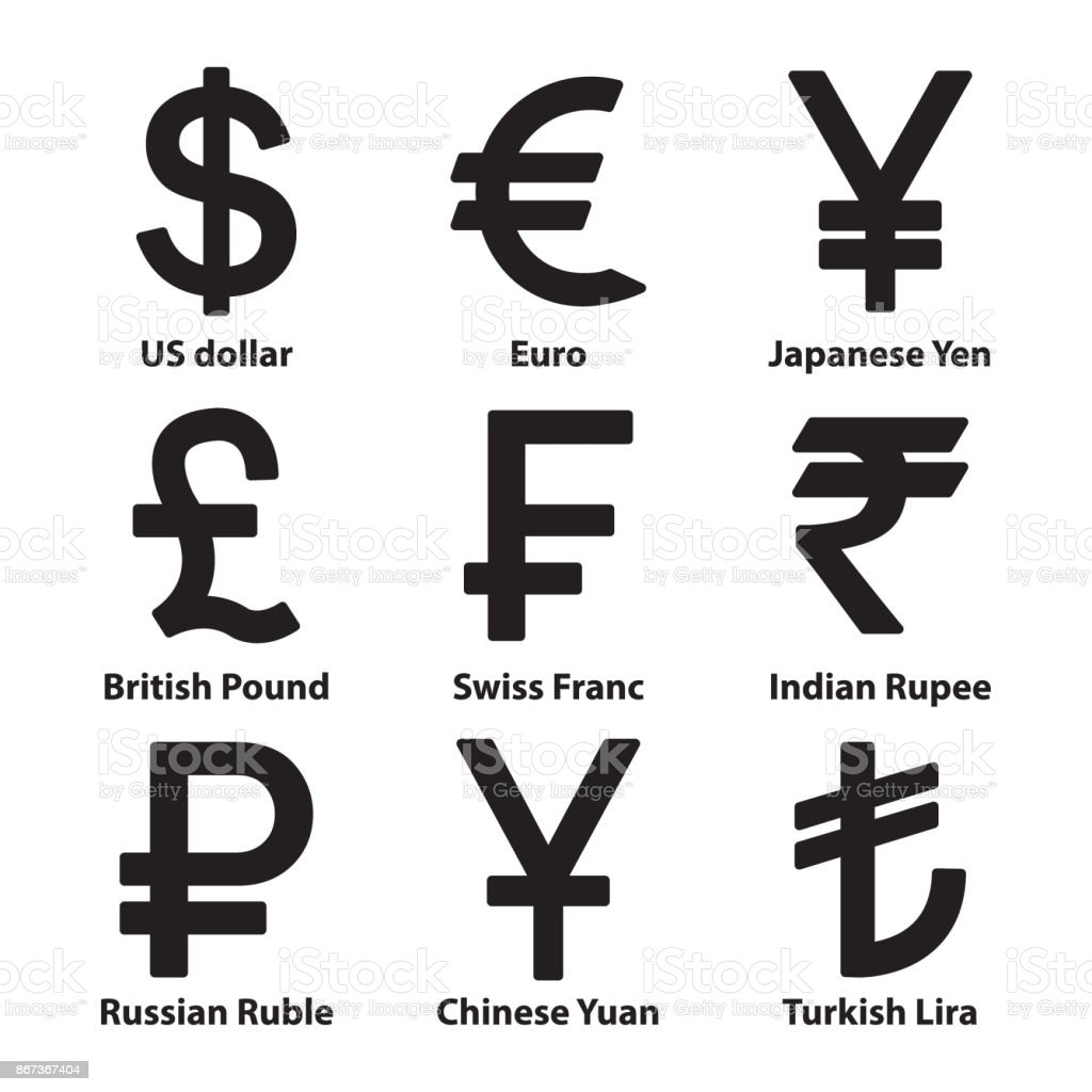 currencies symbol icons set vector vector art illustration
