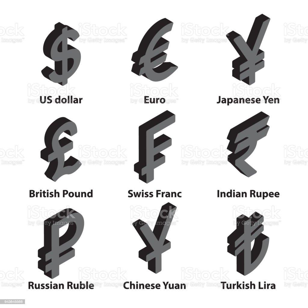 Currencies symbol icons set. Vector. vector art illustration