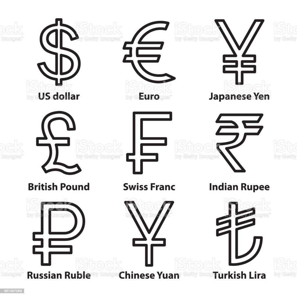 Currencies symbol thin line icons set. Vector. vector art illustration