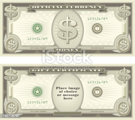 Representational artwork of US dollar bills, can be used to signify money or as a gift certificate design.  Center area may be easily removed to add photo of choice, or text.