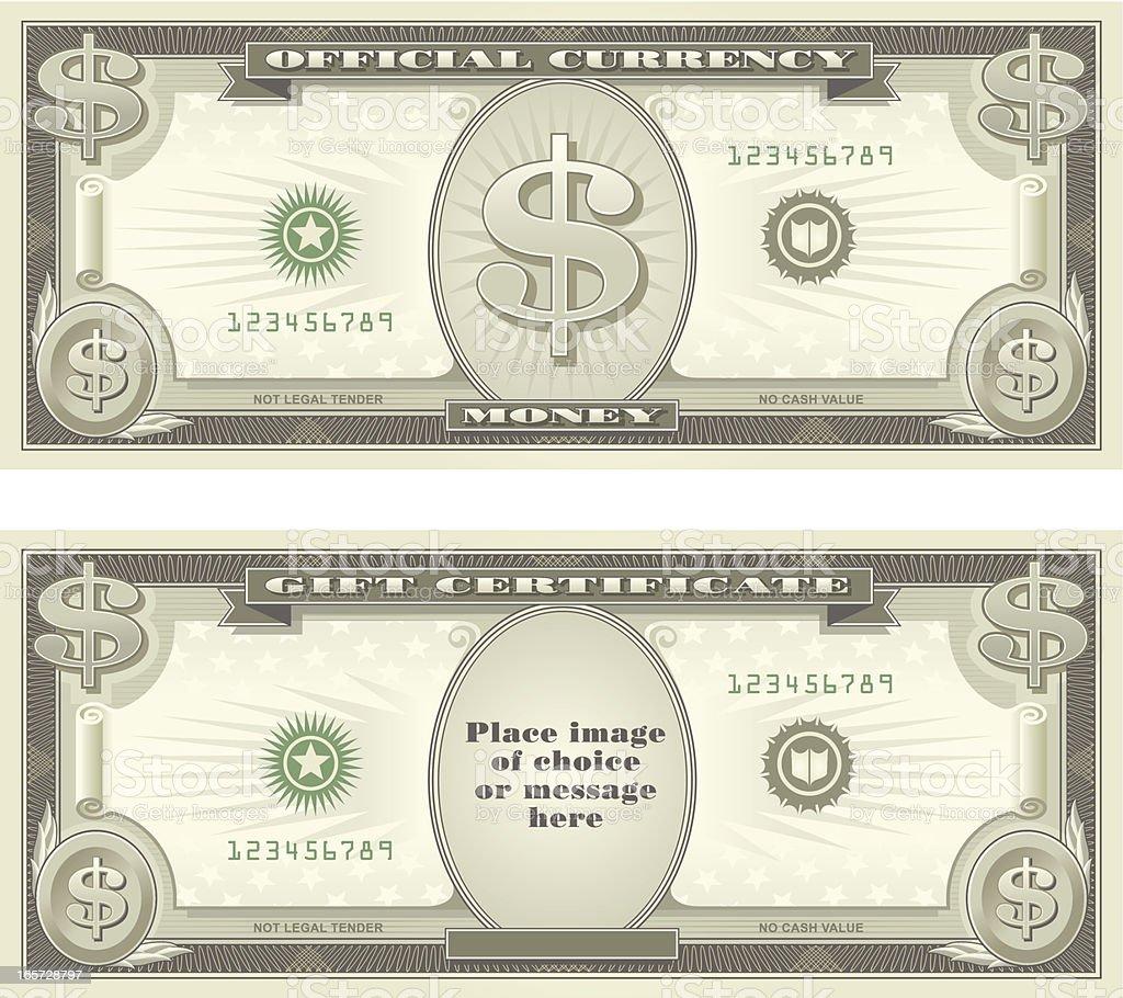 Devise et chèque-cadeau - Illustration vectorielle