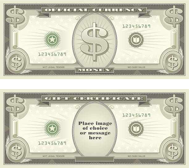 currency and gift certificate - dollar bill stock illustrations