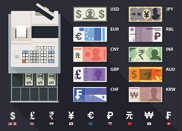 통화, 수거통 지급어음 및 현금 출납계를 - 영국 화폐 단위 stock illustrations