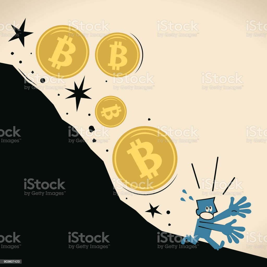 Currency bubble, falling Bitcoin currency hitting fresh low, investor (businessman) running away (escape) vector art illustration