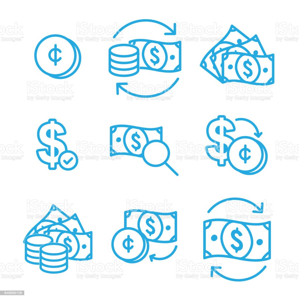 Currency Circulation Money Exchange Rate Icon With Dollar Bill Stock