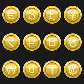 Currency coins symbols icons metallic golden with highlights set