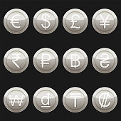 Currency coins symbols icons metallic platinum with highlights set