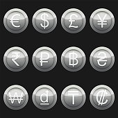 Currency coins symbols icons metallic silver with highlights set