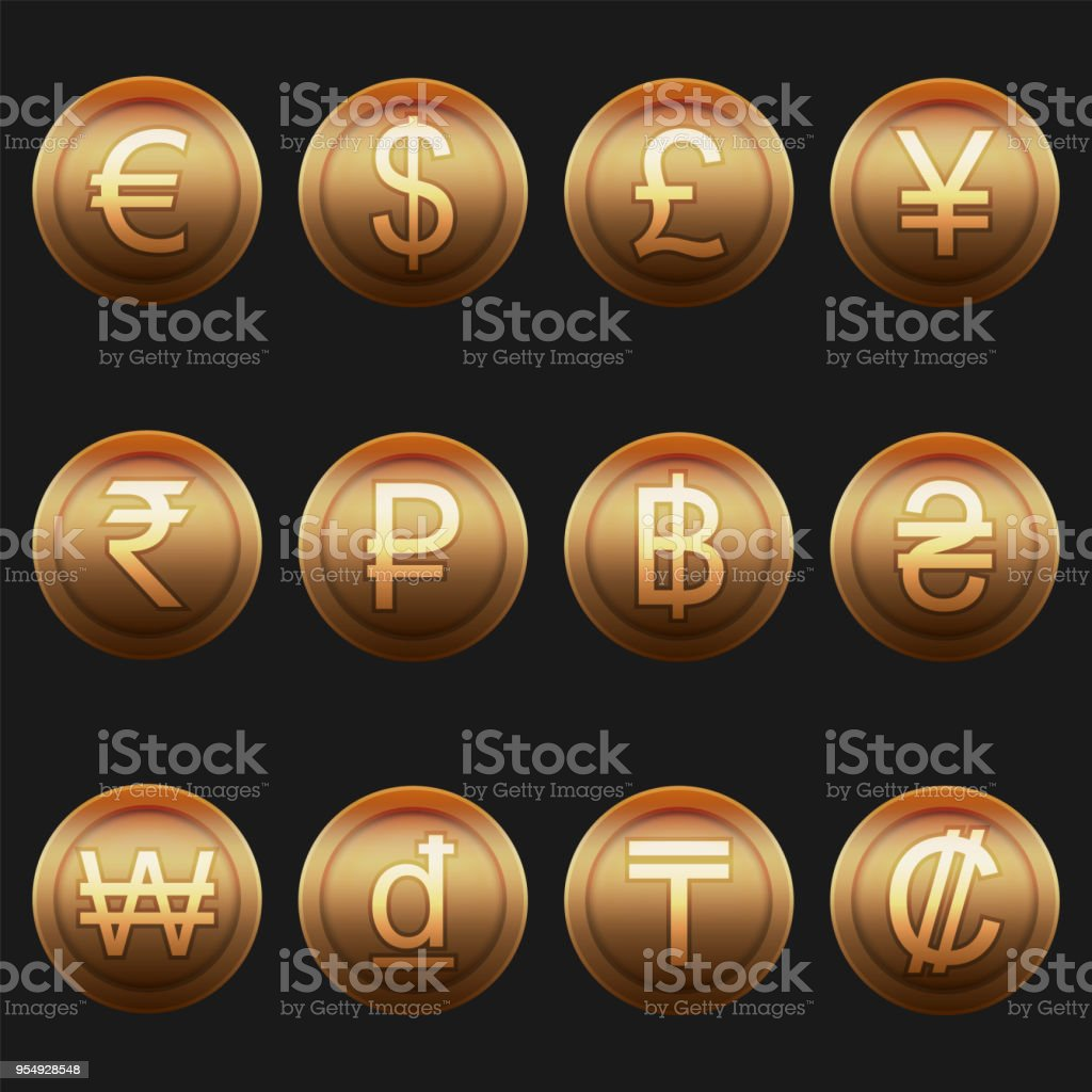 Currency Coins Symbols Icons Shiny Metallic Bronze Set Stock Vector