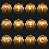 Currency coins symbols icons shiny metallic bronze set
