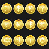 Currency coins symbols icons shiny metallic golden set
