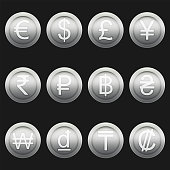 Currency coins symbols icons shiny metallic silver set