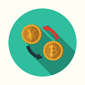 A flat design styled Bitcoin icon with a long side shadow. Color swatches are global so it's easy to edit and change the colors.