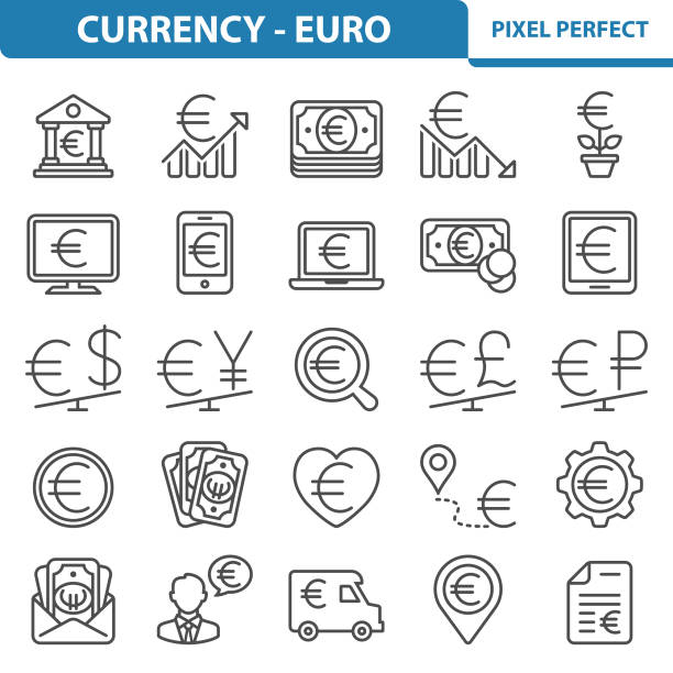 Currency - Euro Icons vector art illustration