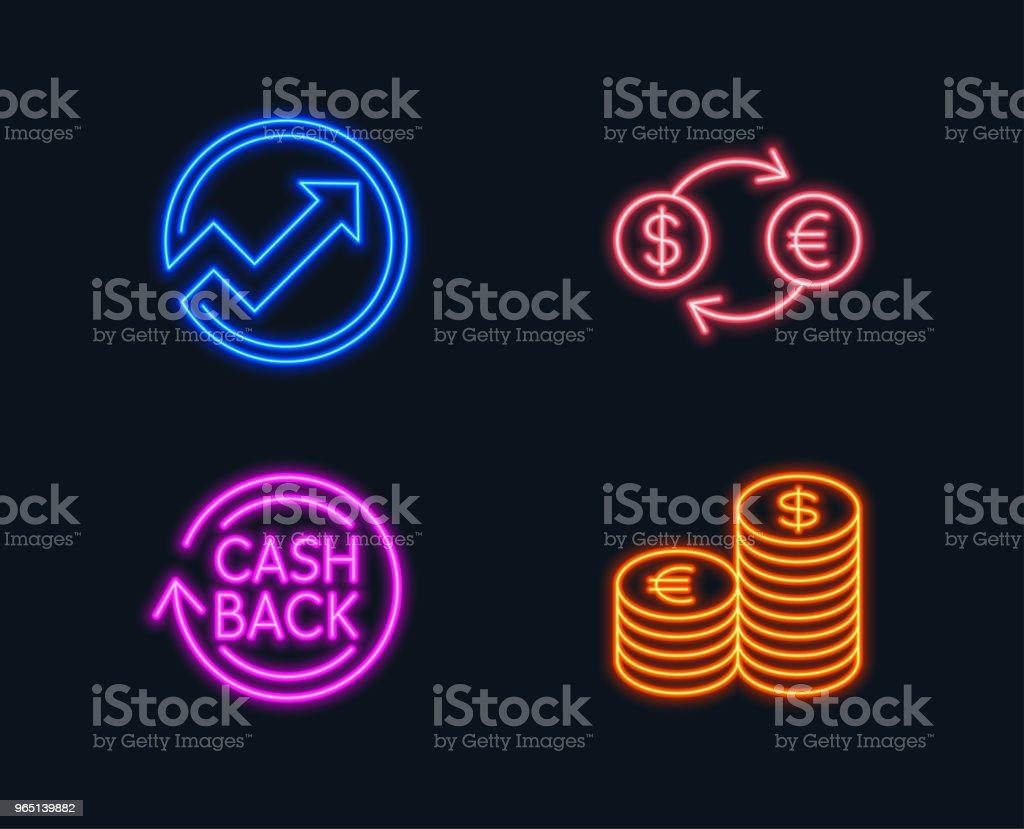 Currency exchange, Audit and Cashback icons. Currency sign. Banking finance, Arrow graph, Refund commission. currency exchange audit and cashback icons currency sign banking finance arrow graph refund commission - stockowe grafiki wektorowe i więcej obrazów audyt royalty-free
