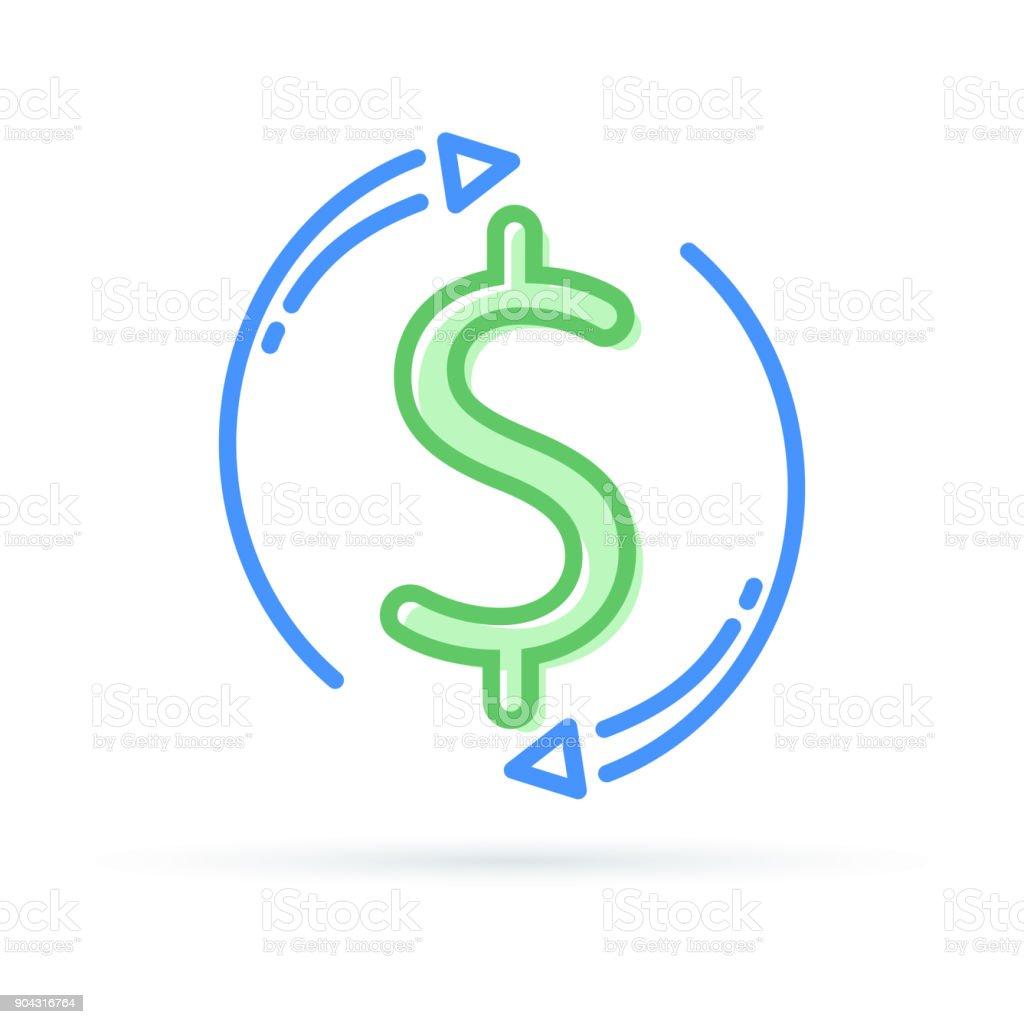Cambio de divisas. Efectivo nuevo y rápido préstamo hipotecario refinancian o devolucion. Concepto de seguros, icono de administración de fondo - ilustración de arte vectorial