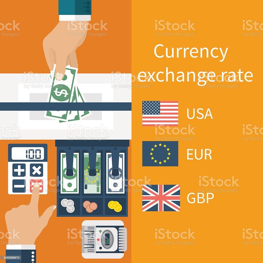 Currency exchange concept vector art illustration